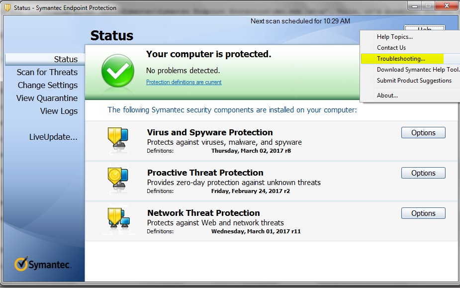 Symantec endpoint protection network threat protection not updating