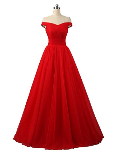 Red Tulle Formal Evening Ball Gown Dress - red prom dress 2018