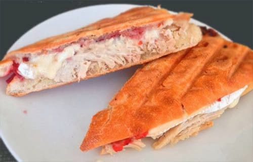 What To Do With #Thanksgiving_Leftovers?  Focaccia #Turkey Sandwich w/ Brie Cheese, Cranberry Sauce and Stuffing.  Click For More Ideas