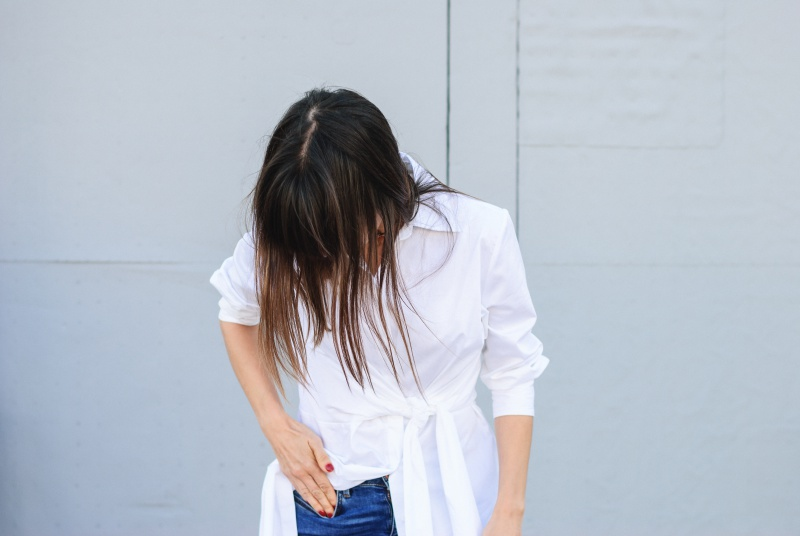 White Dress + Jeans Look