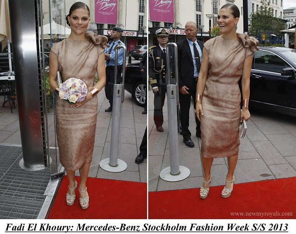 Crown Princess Victoria attended Fadi El Khoury S/S 2013 Fashion Show during the Mercedes-Benz Stockholm Fashion Week at Berns
