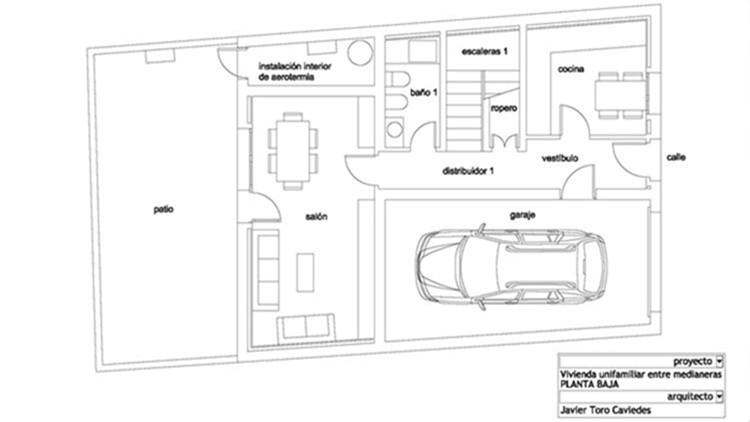 proyecto de vivienda unifamiliar entre medianeras con aerotermia 1