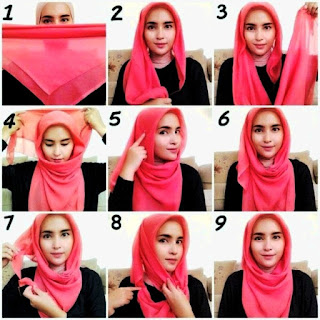 Jilbab Merah Segi Empat
