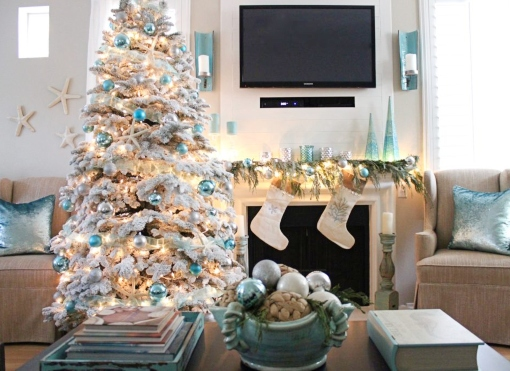 White Flocked Coastal Christmas Tree
