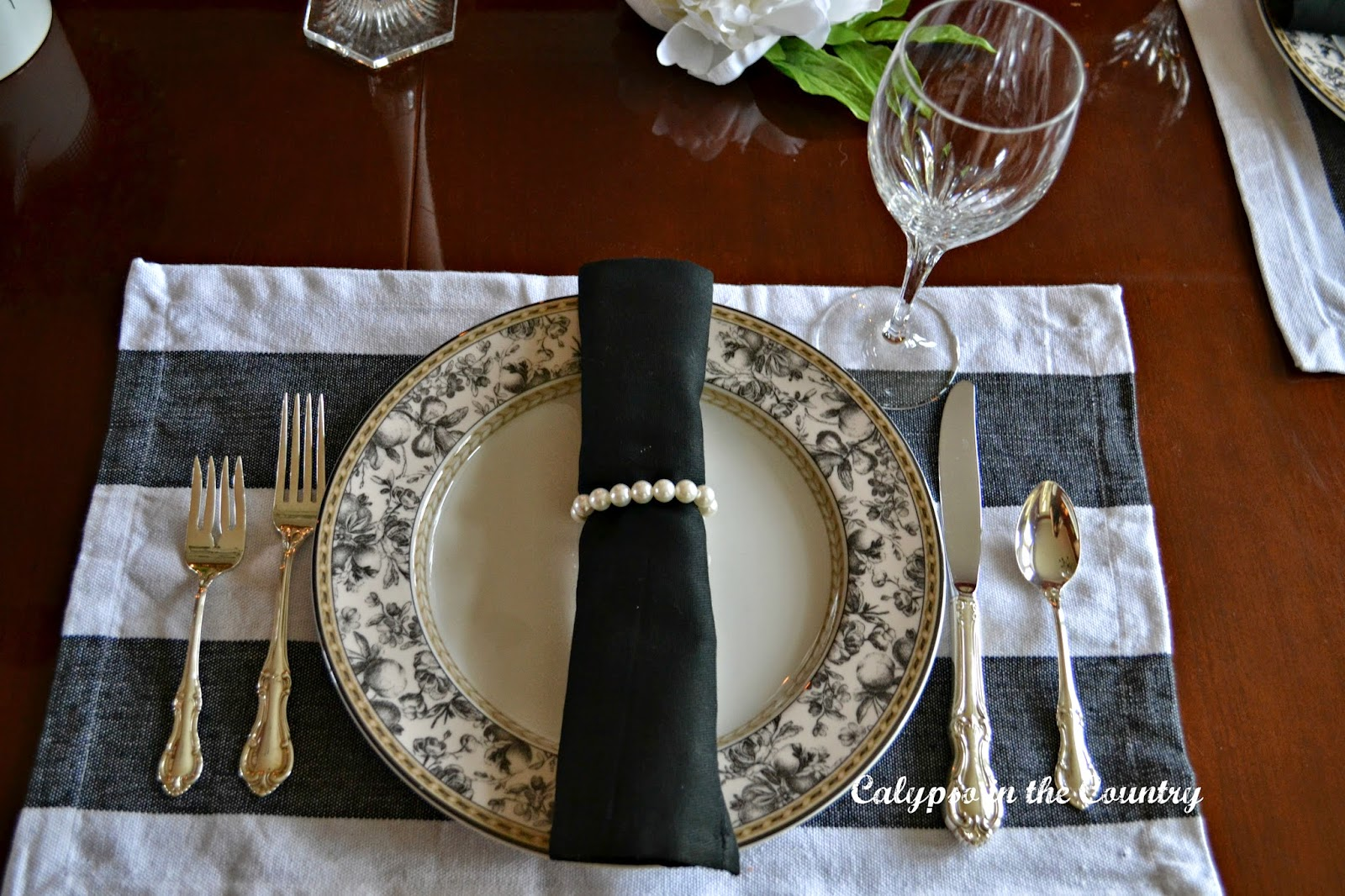 Black and White Place Setting  - Jackie Kennedy Inspired
