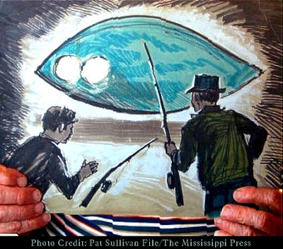 Painting of UFO as Witnessed & Created By Charles Hickson Pascagoula, Mississippi 10-11-1973