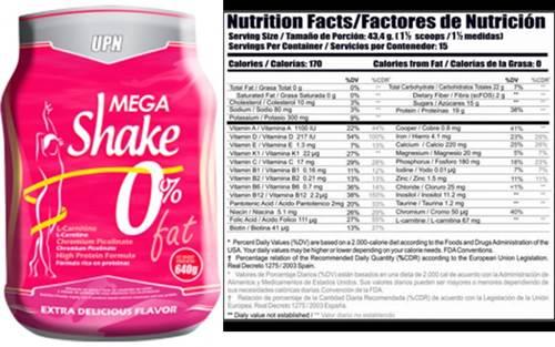 Mega shake de UPN whey protein sin grasa para mujeres
