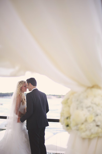 wedding ceremony at waterfront event center okoboji