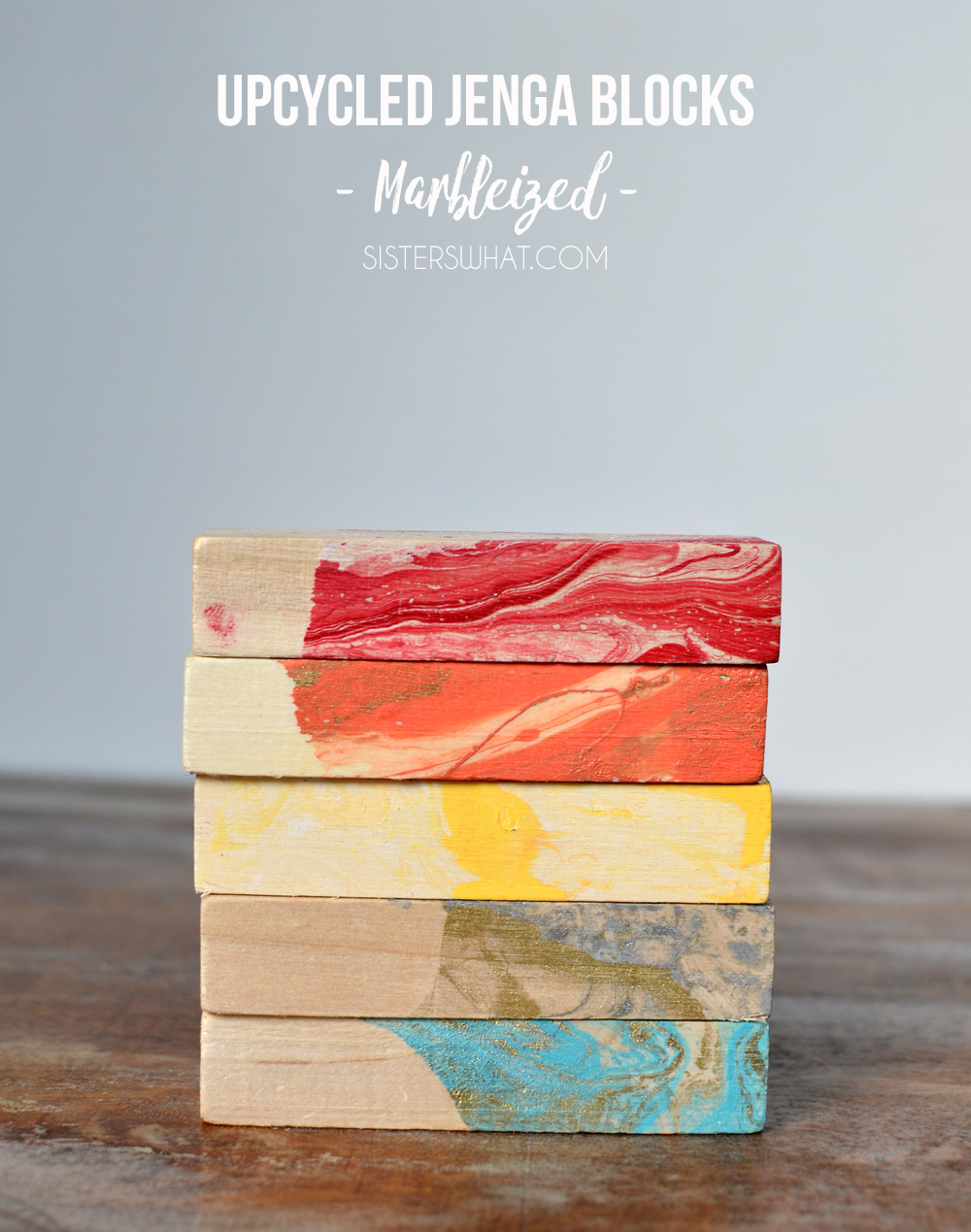 rainbow colorful marbleized painting on jenga wood blocks