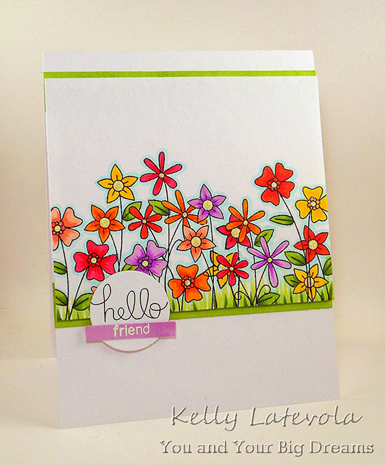 Floral Friend card by Kelly Latevola | Versatile Vases stamp set by Newton's Nook Designs #newtonsnook