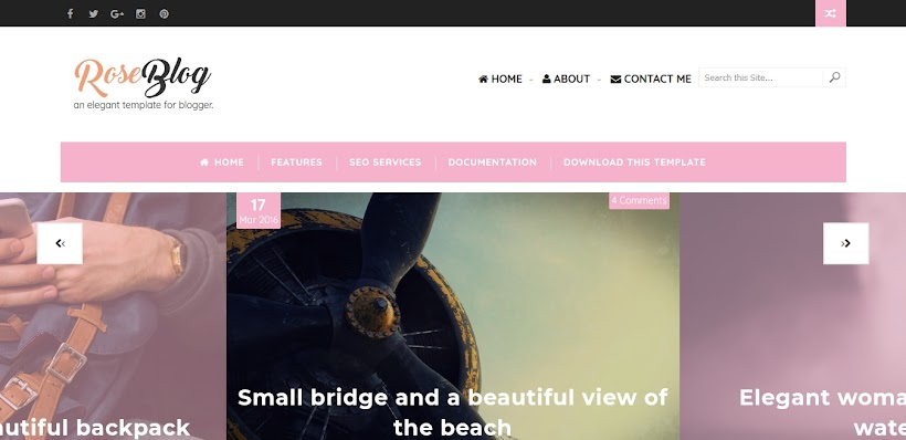 Rose Blog Free Blogger Template