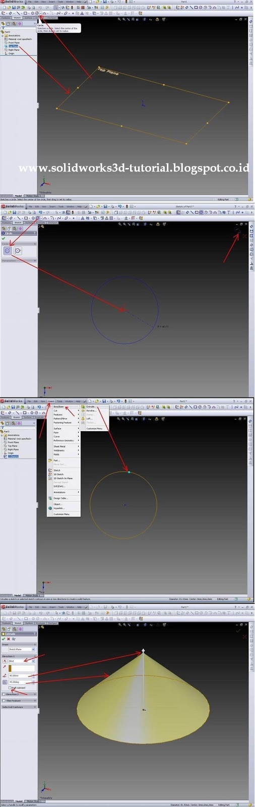 Solidworks design tutorial i have tried to create a tapered shape solidworks we make a circle first in the top plane click on the origin 00 then drag the mouse to form a circle baditri Image collections