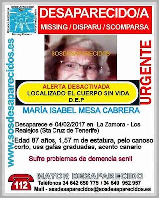 Encuentran sin vida mujer desaparecida en Los Realejos,Tenerife