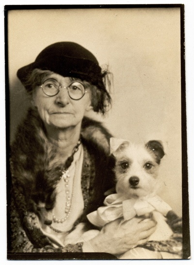 Cute old lady posing in a photobooth with her little dog. c.1930s I've Fallen Other stories of Matronly Women. marchmatron.com