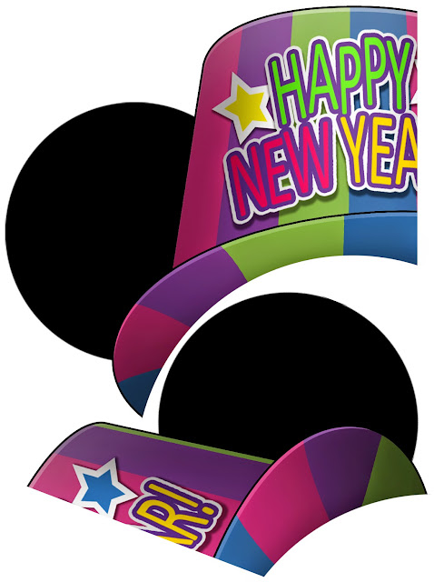 New Year Mickey Mouse: Free Printable Hat with Ears.