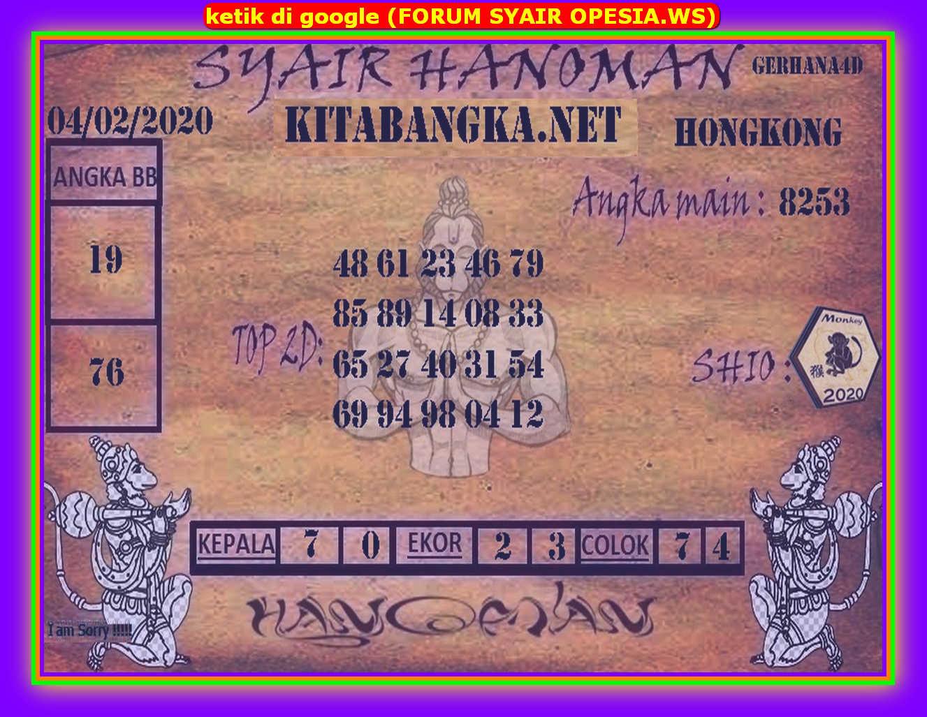 Kode syair Hongkong Selasa 4 Februari 2020 184