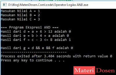 Contoh Program Operator Logika AND