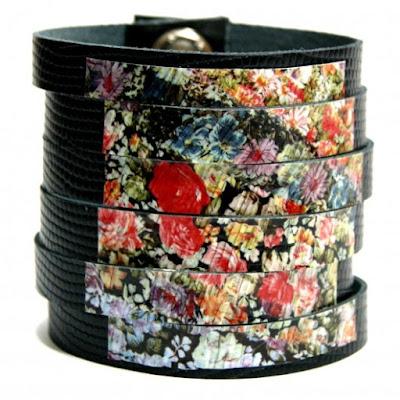 szeroka skórzana bransoletka w kwiaty motyw kwiatowy biżuteria handmade