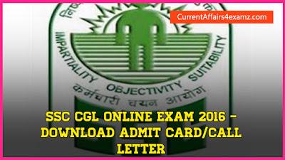 Admit Card SSC CGL 2016