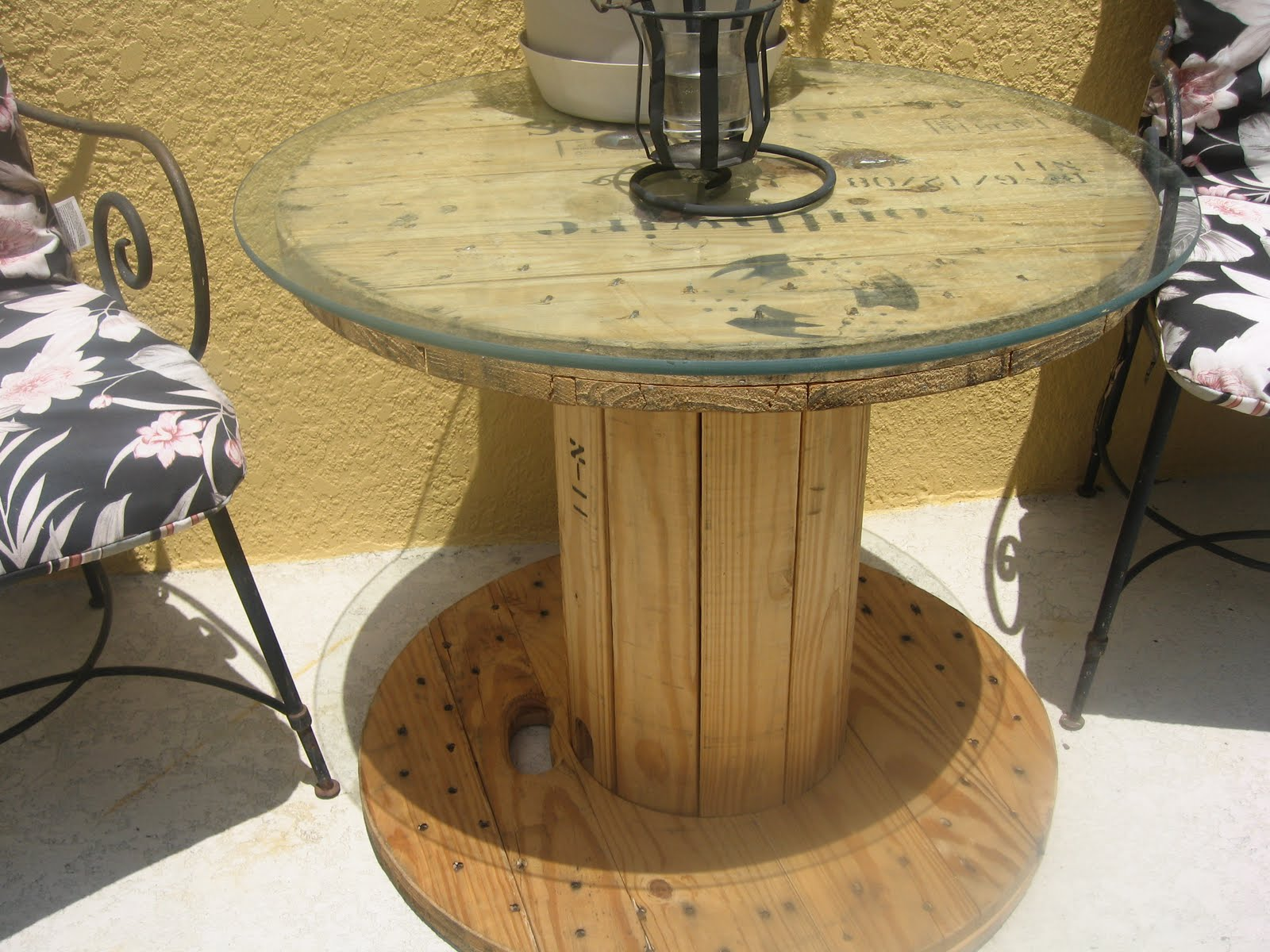 Sunflowers & Spears: Wooden Cable Spool Table