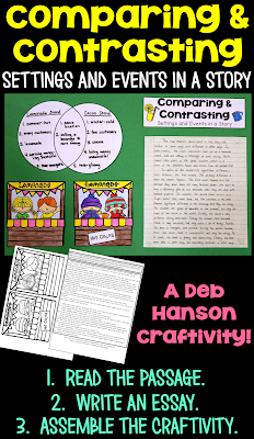 Compare and contrast setting and events- with a craftivity! This compare and contrast activity can be used to create a great reading bulletin board, too!