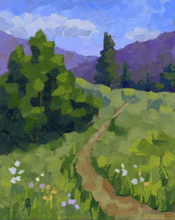 landscape painting nature mountain spring green