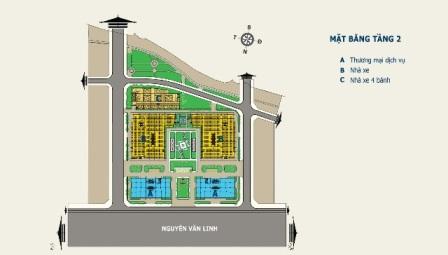 Mặt bằng tầng 2 Nhà ở xã hội: Căn hộ trả góp HQC Plaza tại TPHCM