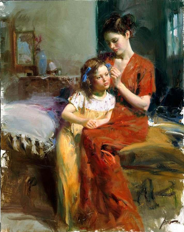 Children behavior and Mothers Love paintings world wide