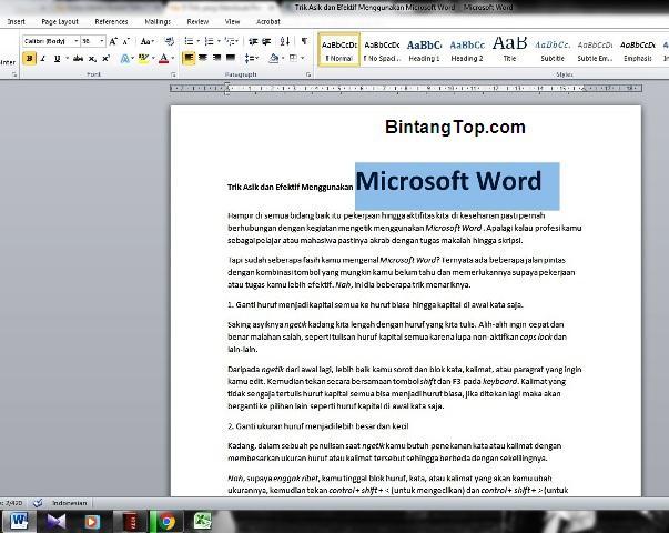 tombol pintas membesarkan mengecilkan huruf dalam ms word