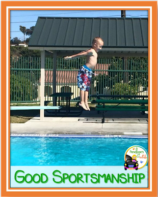 A boy diving into a pool mid air above water, being a good sport