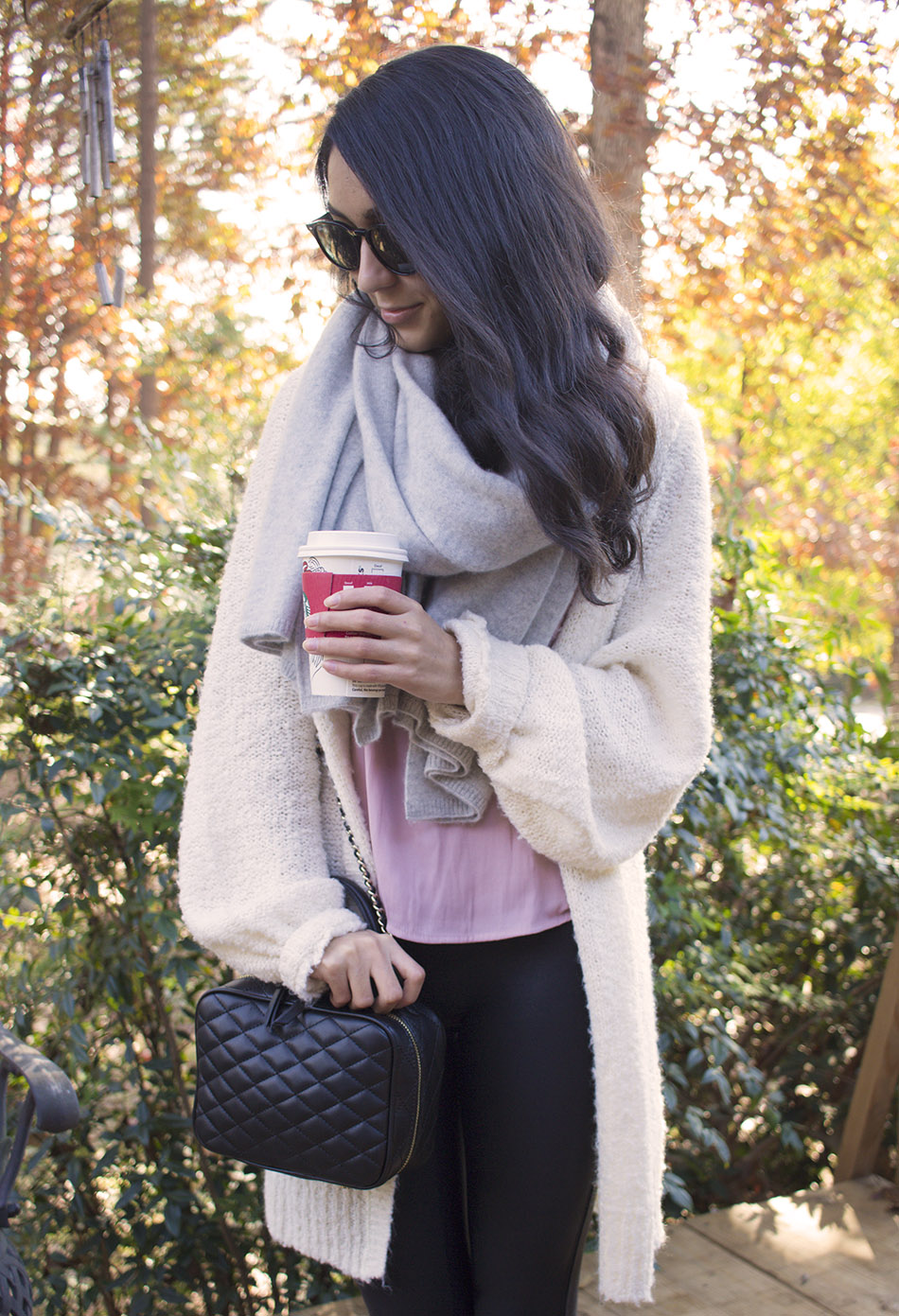 cozy fall outfit boucle cardigan starbucks holiday cup