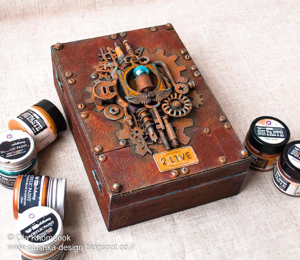 likeartstudio by ola khomenok steampunk altered box mixed media