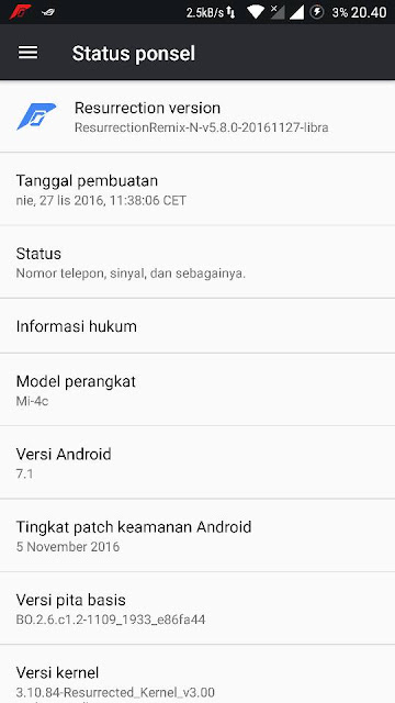 Rom Mi4C Resurrection Remix N libra/aqua v5.8.0 android N 7.1