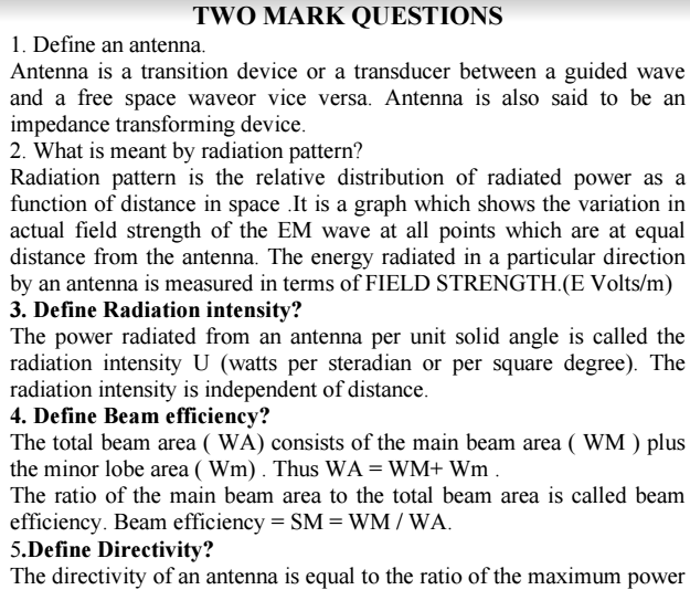 Antennas and Wave Propagation Viva Short Questions and