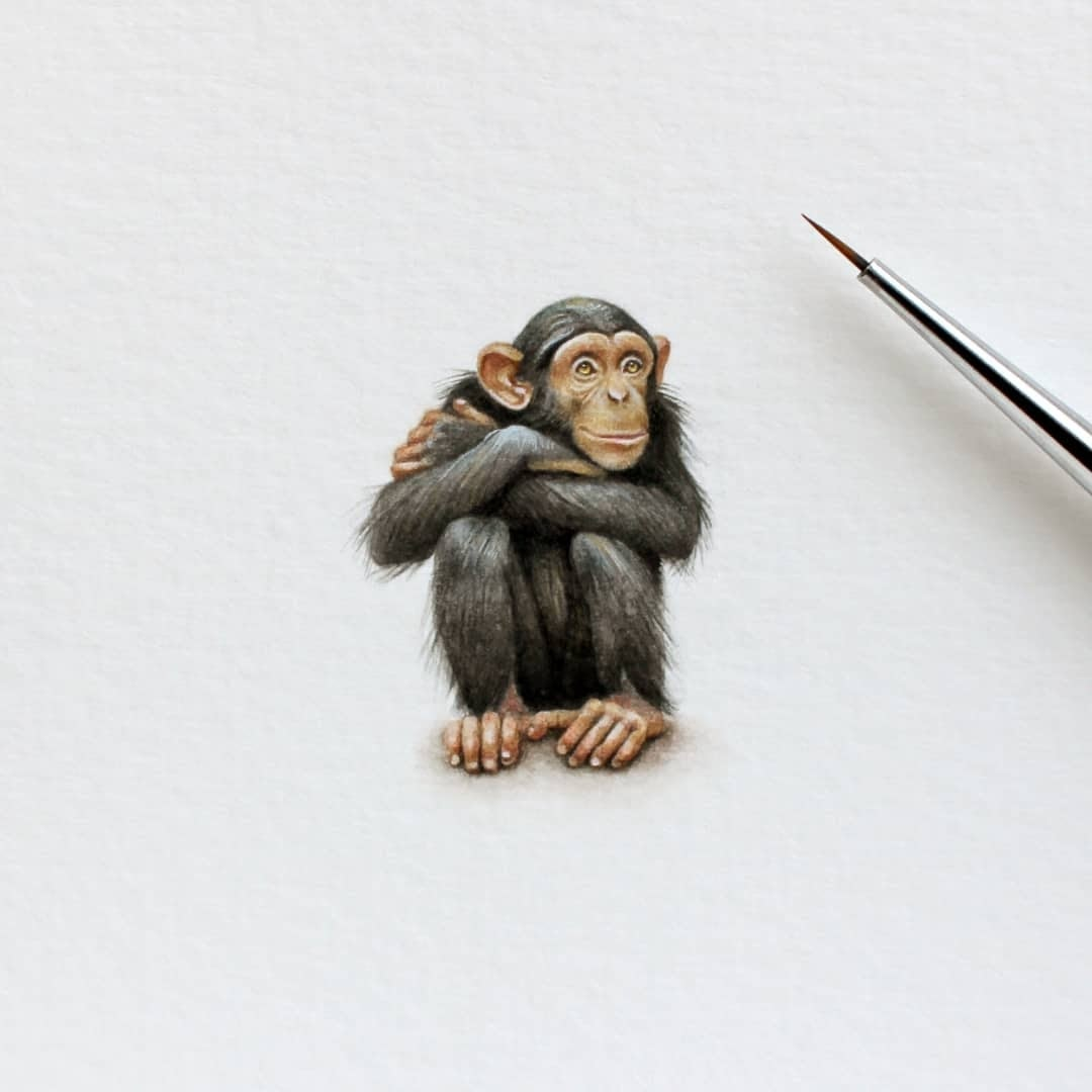06-Happy-Chimpanzee-Julia-Las-Miniature-3-cm-Paintings-of-Wild-Animals-www-designstack-co