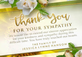 Golden Sunflower Horizontal 4x8 Sympathy Thank You Card