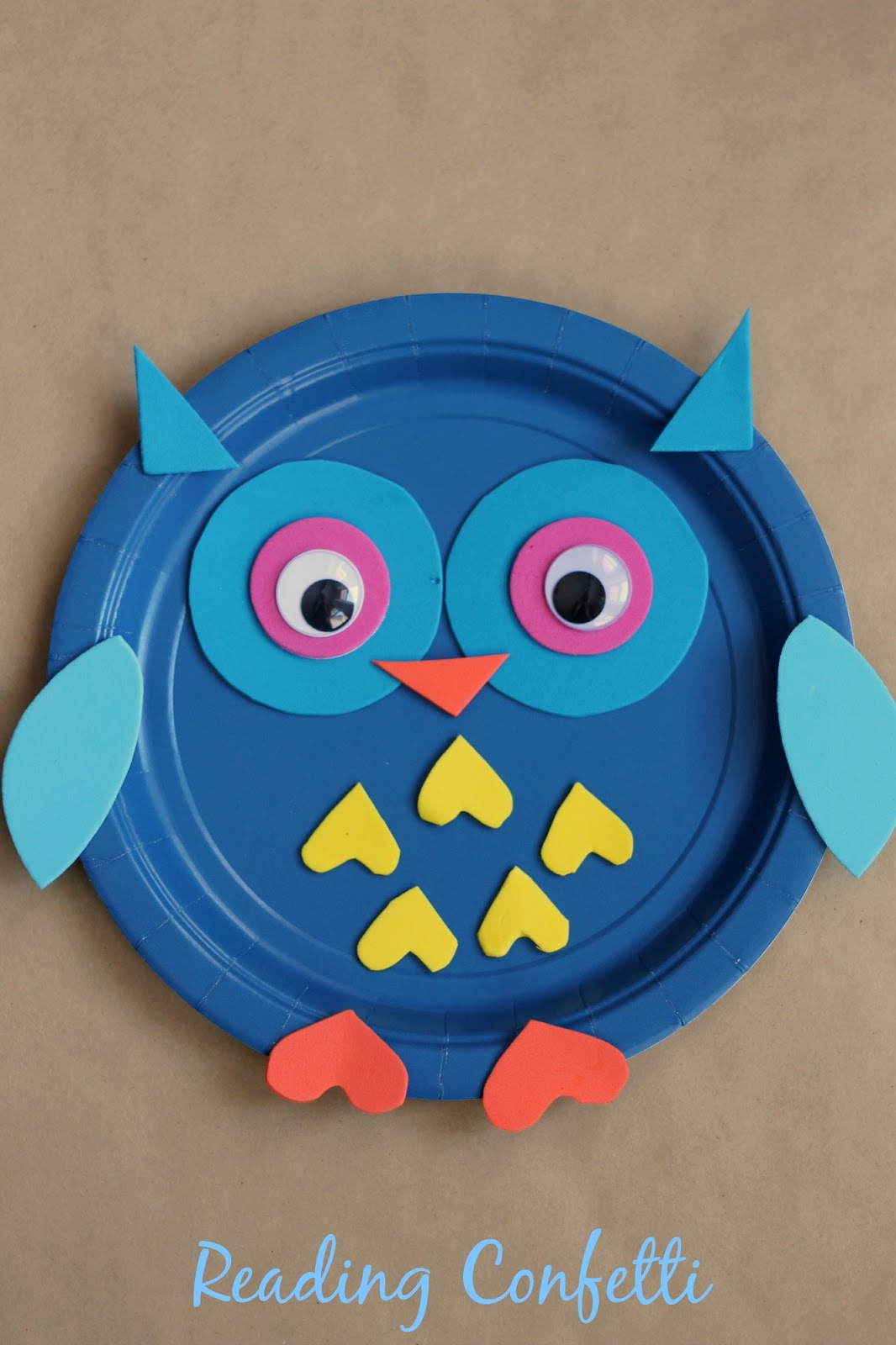 Paper Plate Owl Craft ~ Reading Confetti
