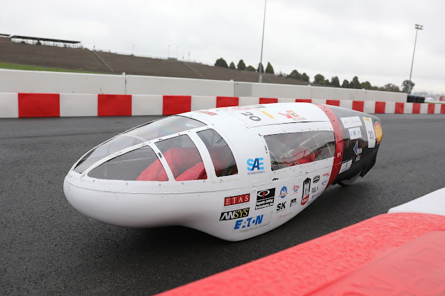 NIU Supermileage team competing under Prototype – Internal Combustion category on the track at Make the Future Live California featuring Shell Eco-marathon Americas at Sonoma Raceway in Sonoma, Calif.