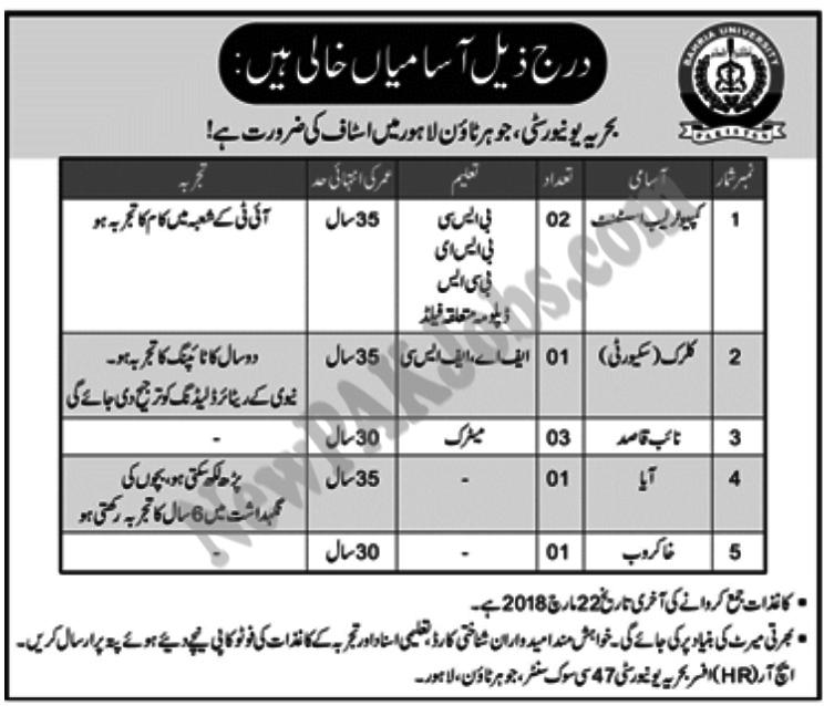 Bahria Univeristy, Johar Town Lahore Jobs 218