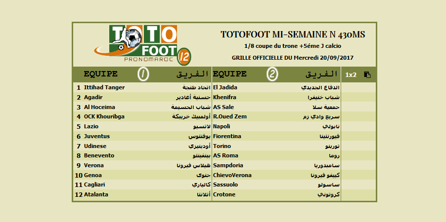 PRONOSTIC TOTOFOOT MI-SEMAINE N 430MS