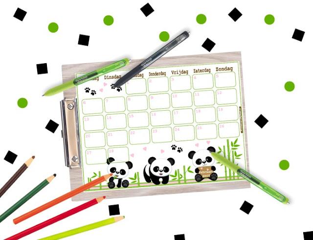 agenda stickers, printable stickers, panda stickers, planner stickers, printable planner, cute planner, kalender voor kinderen panda printable, printable panda, bijdeb printable