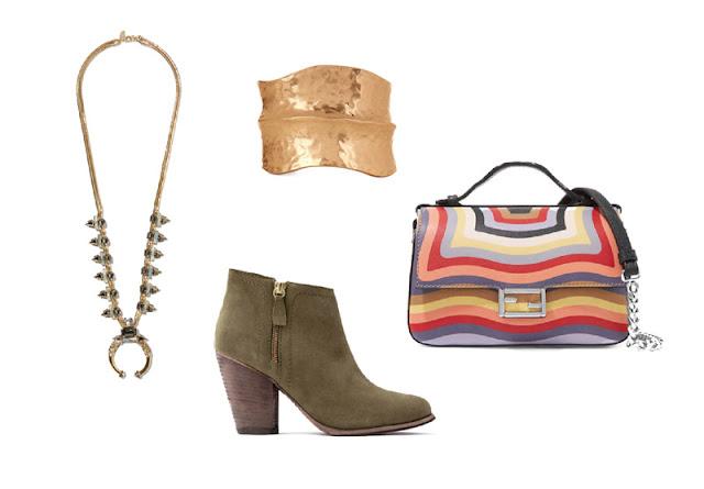 Колье, золотой массивный браслет, ботильоны цвета хаки и сумка в полоску через плечо для капсульного гардероба в повседневном стиле Casual