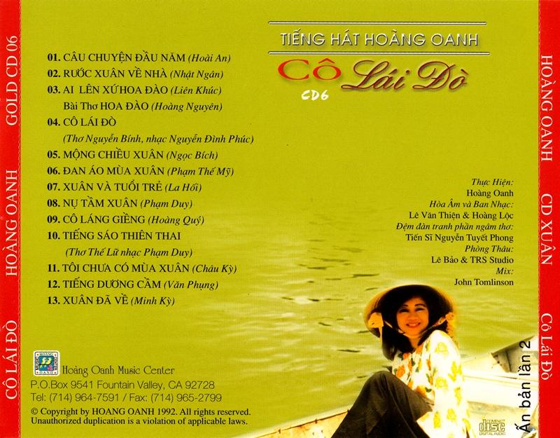 Hoàng Oanh CD06 - Cô Lái Đò (NRG) + bìa scan mới