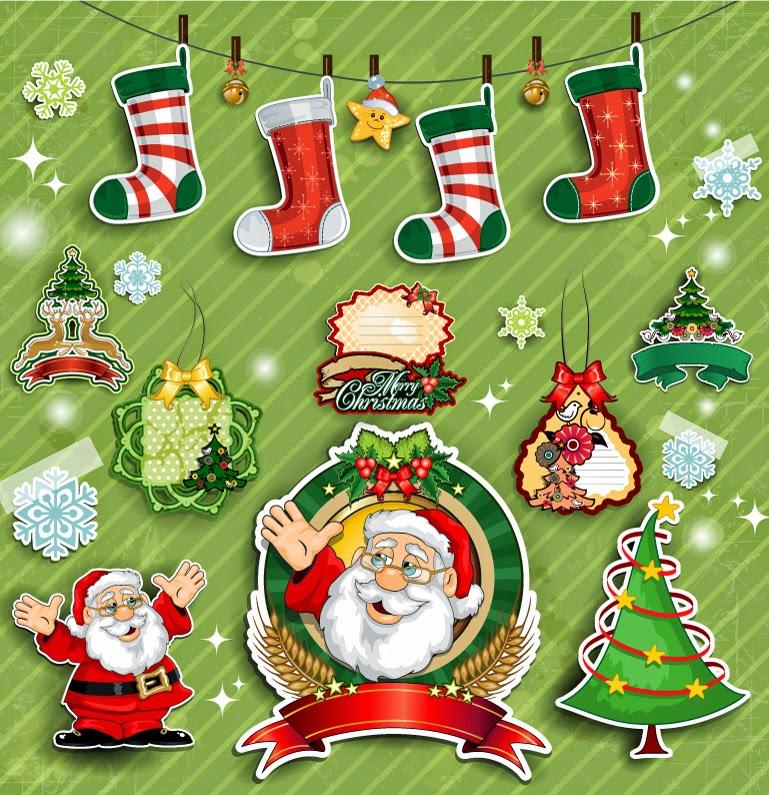 Set de elementos navideños en vectores