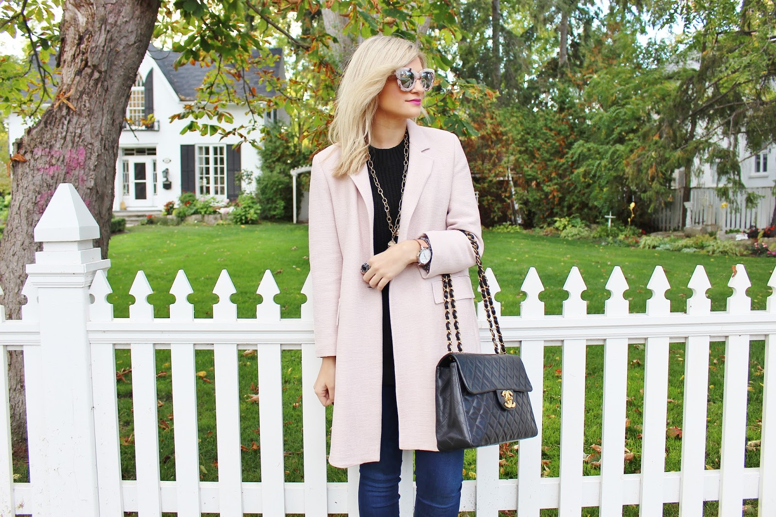 Bijuleni - Duster Blush Zara Coat, Skinny Guess Jeans, turtleneck swater, Coach loafers and Vintage Chanel Handbag