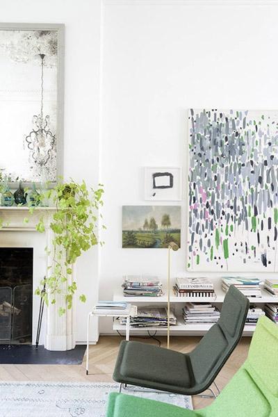 salon design ancien et moderne vert plantes