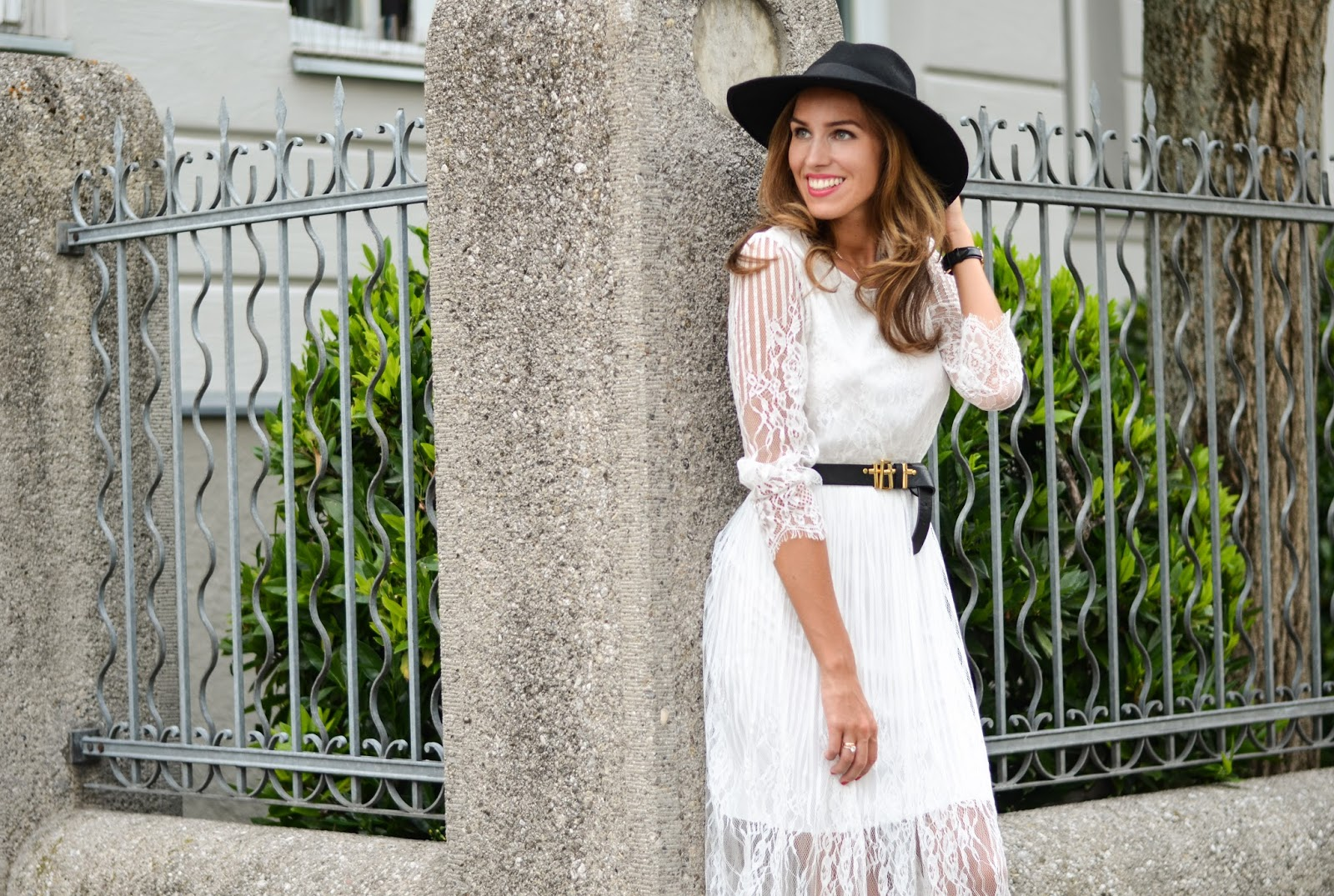 chicwish white lace dress black fedora hat summer outfit