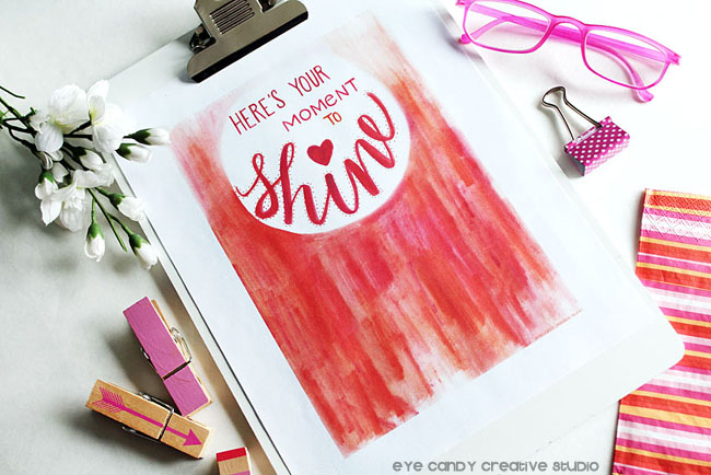 pink glasses, shine art print, clipboard, office decor, summer stripes