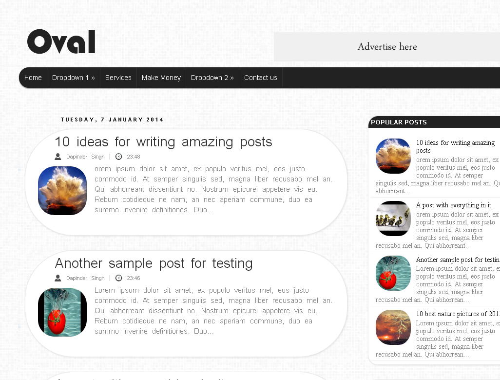 Oval blogger template