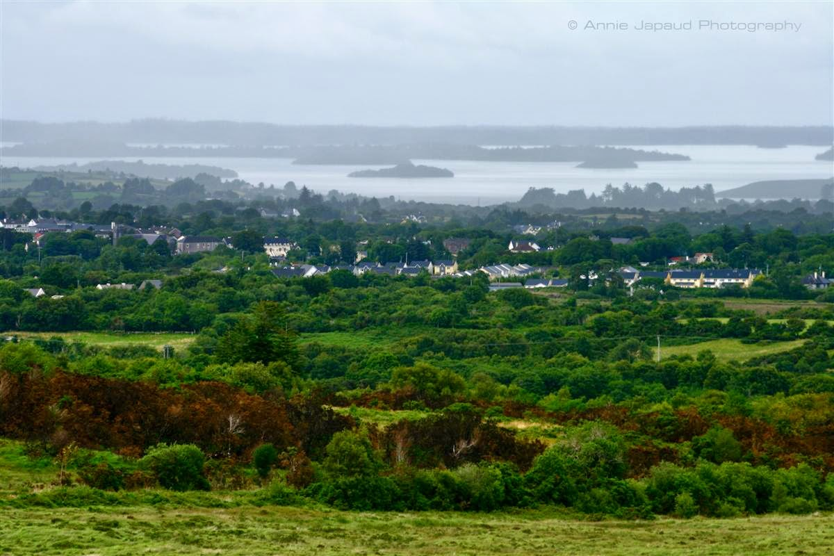 View of Oughterard and Lough Corrib from the hills, green trees, summer